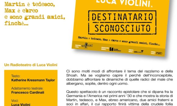 """""""Destinatario Sconosciuto"""" di e con Luca Violini"""